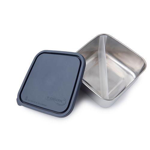美國U Konserve|大方形不鏽鋼分隔便當盒 (二分格可拆)