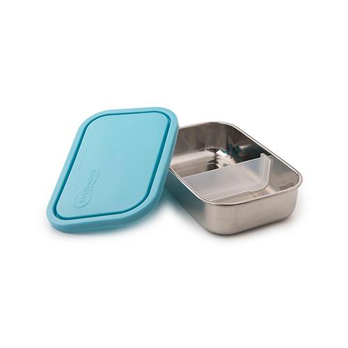 美國U Konserve|長方形不鏽鋼分隔便當盒 (二分格可拆) 一抹天藍