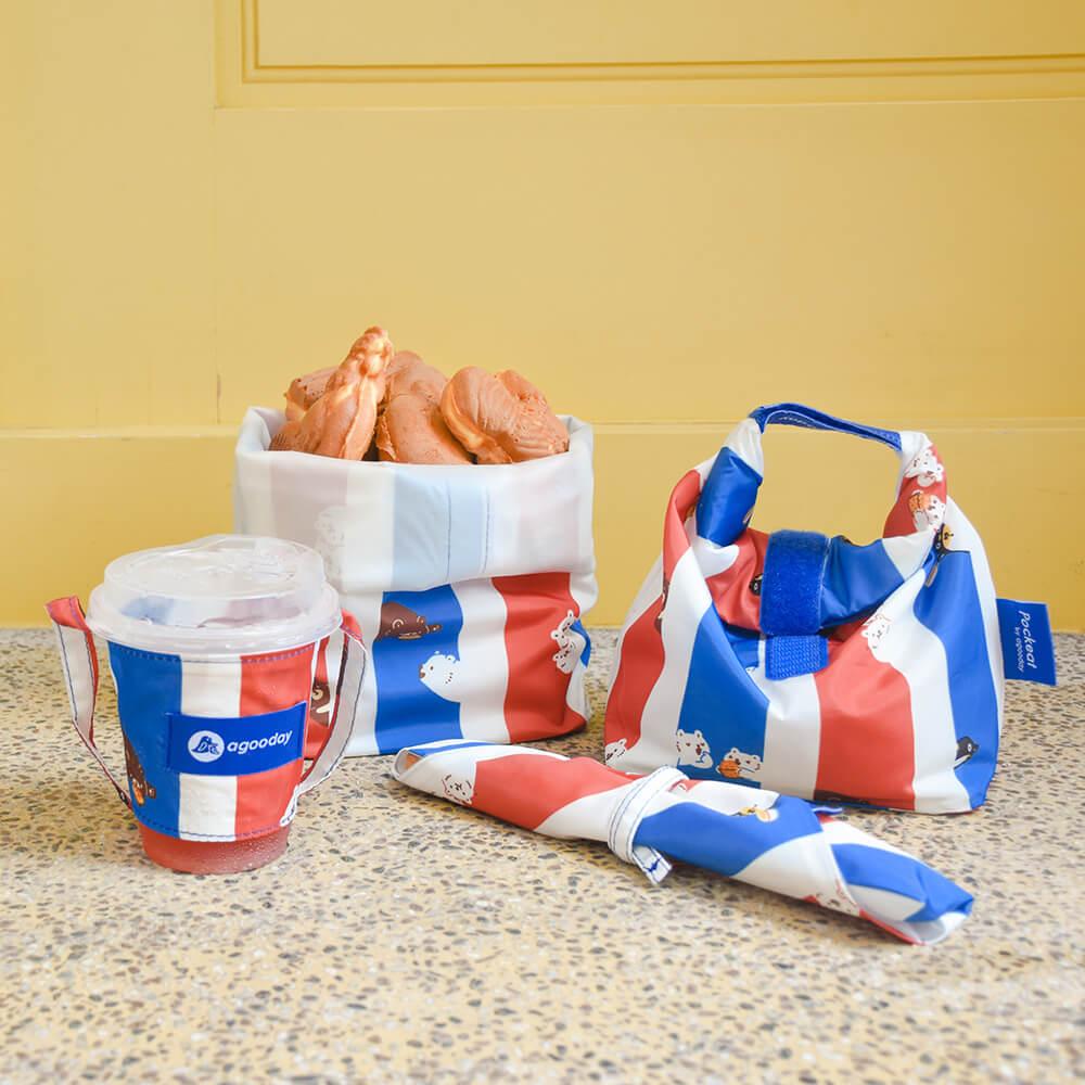好日子|Pockeat環保食物袋(大食袋)白白紅白藍