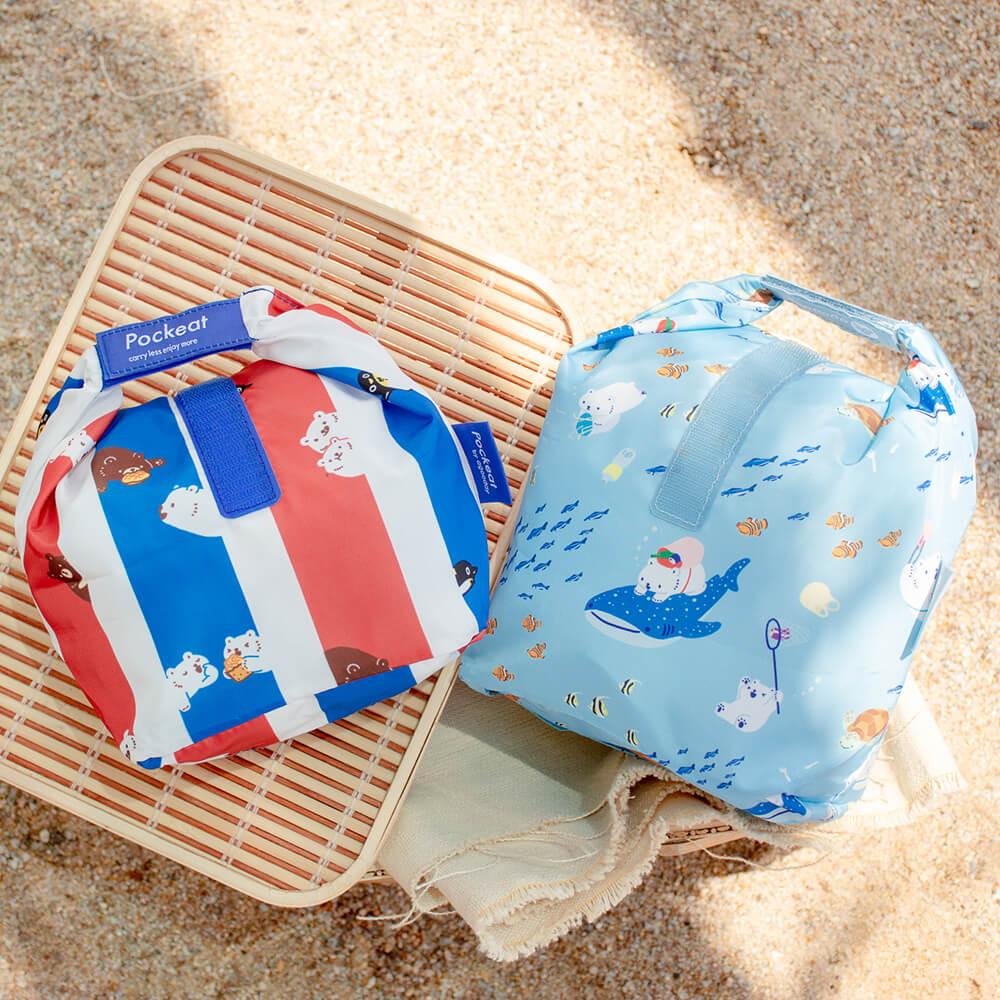 好日子|白白最愛大小都要組-白白與海(大食袋)+白白紅白藍(小食袋)+白白的走塑日記