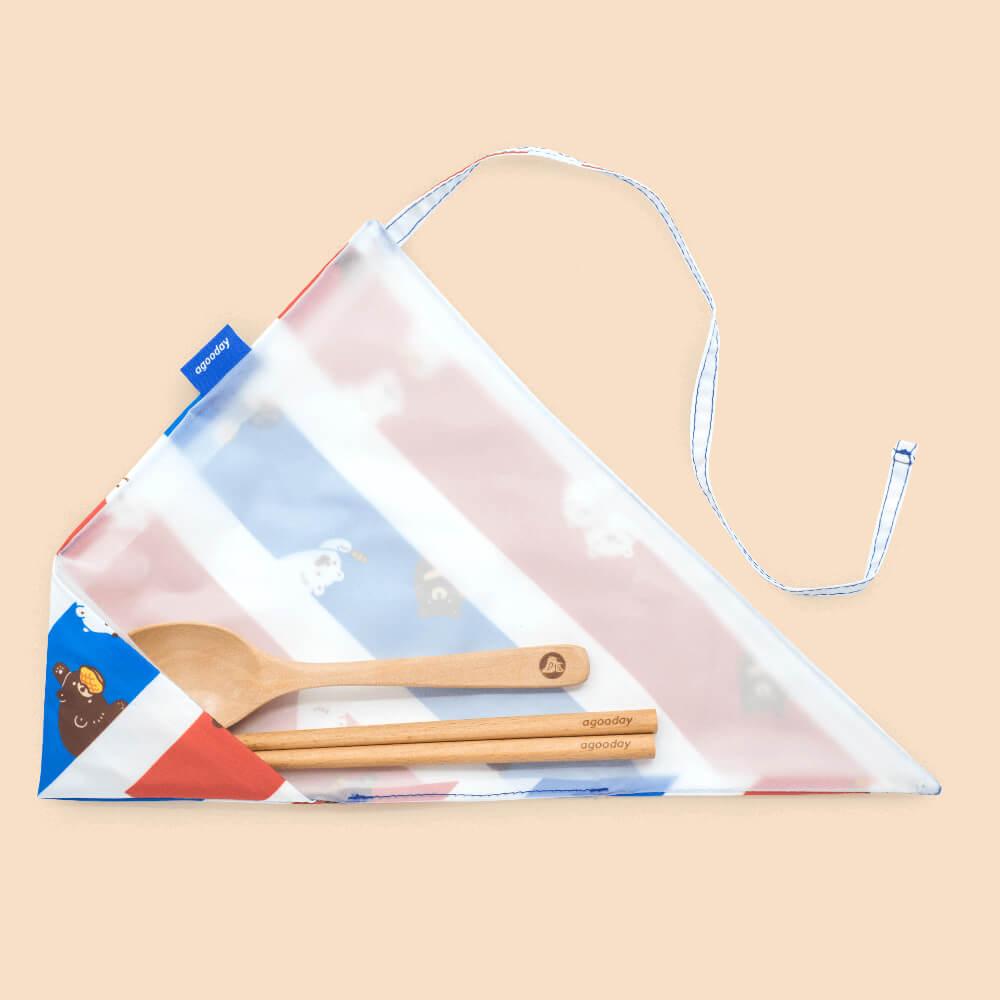 好日子|白白必敗不塑超值組-白白與海大食袋&兩用杯套+白白紅白藍餐具套+原木餐具組