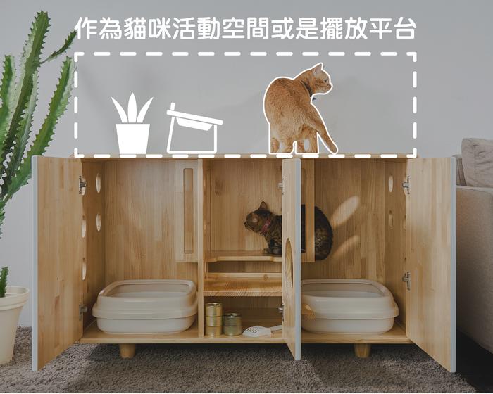 拍拍|原木貓砂櫃-雙盆款