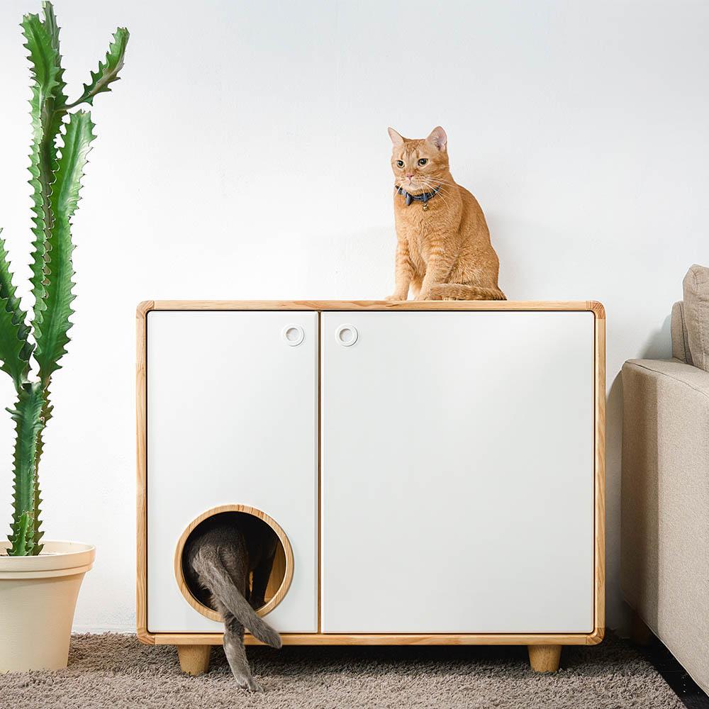 拍拍 原木貓砂櫃-單盆款