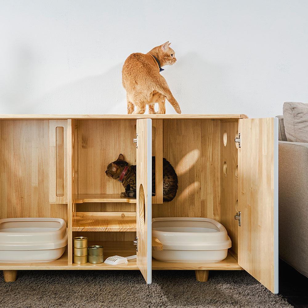 拍拍 原木貓砂櫃-雙盆款