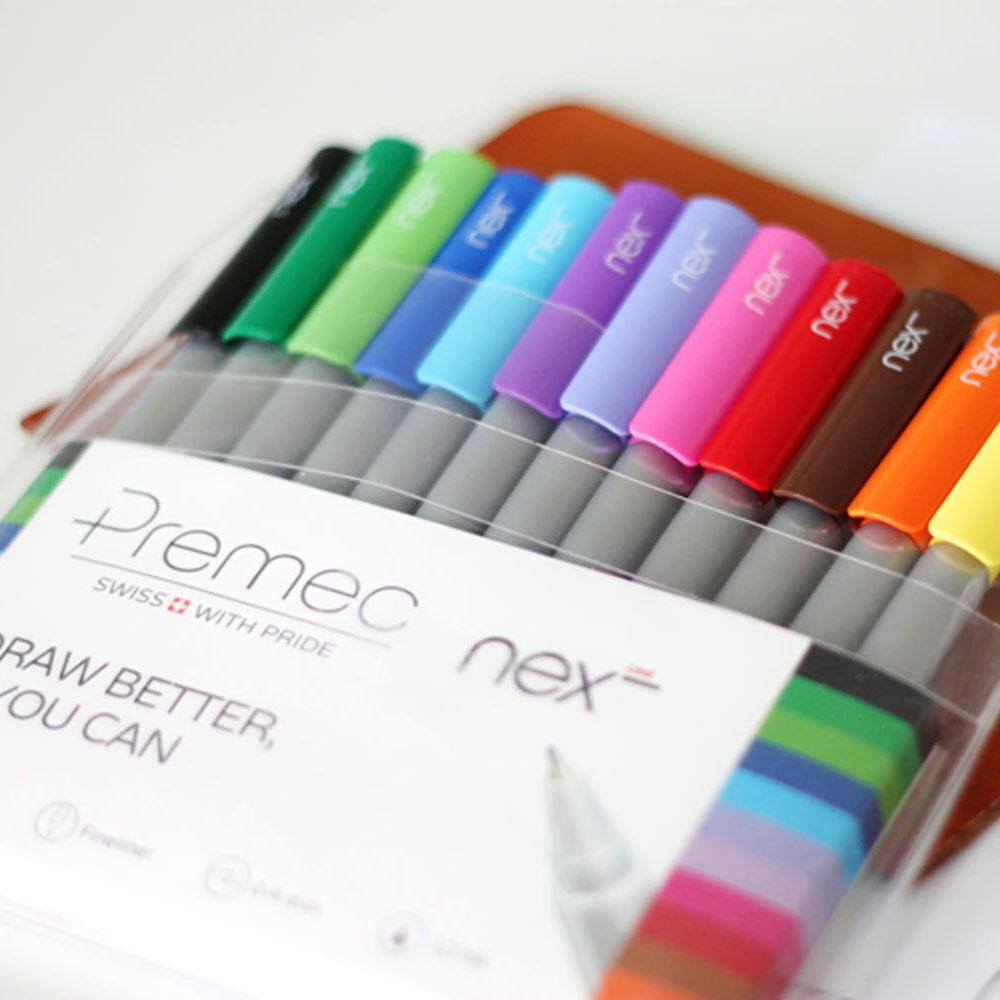 PREMEC 瑞士筆 LINE 鮮彩水性筆 0.4 mm 12色 12入袋裝