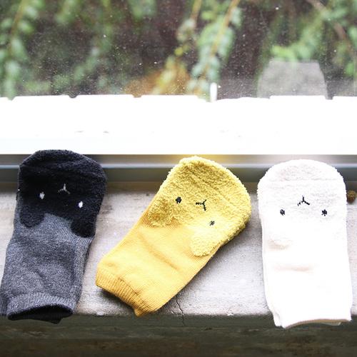 彌之星 MiniDressing|兒童彈性止滑襪(三件組)-無辜小兔