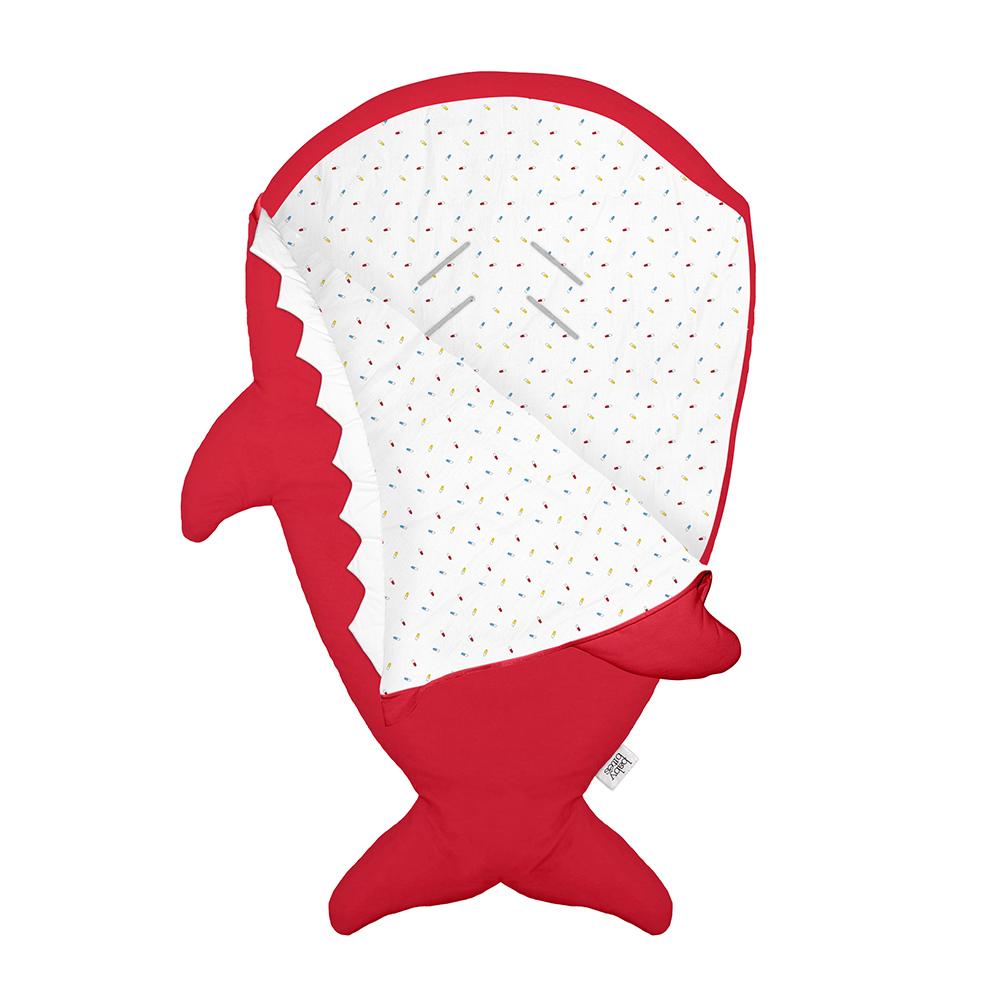鯊魚咬一口 BabyBites|100%純棉手作嬰幼兒睡袋/防踢被/包巾-喜氣紅