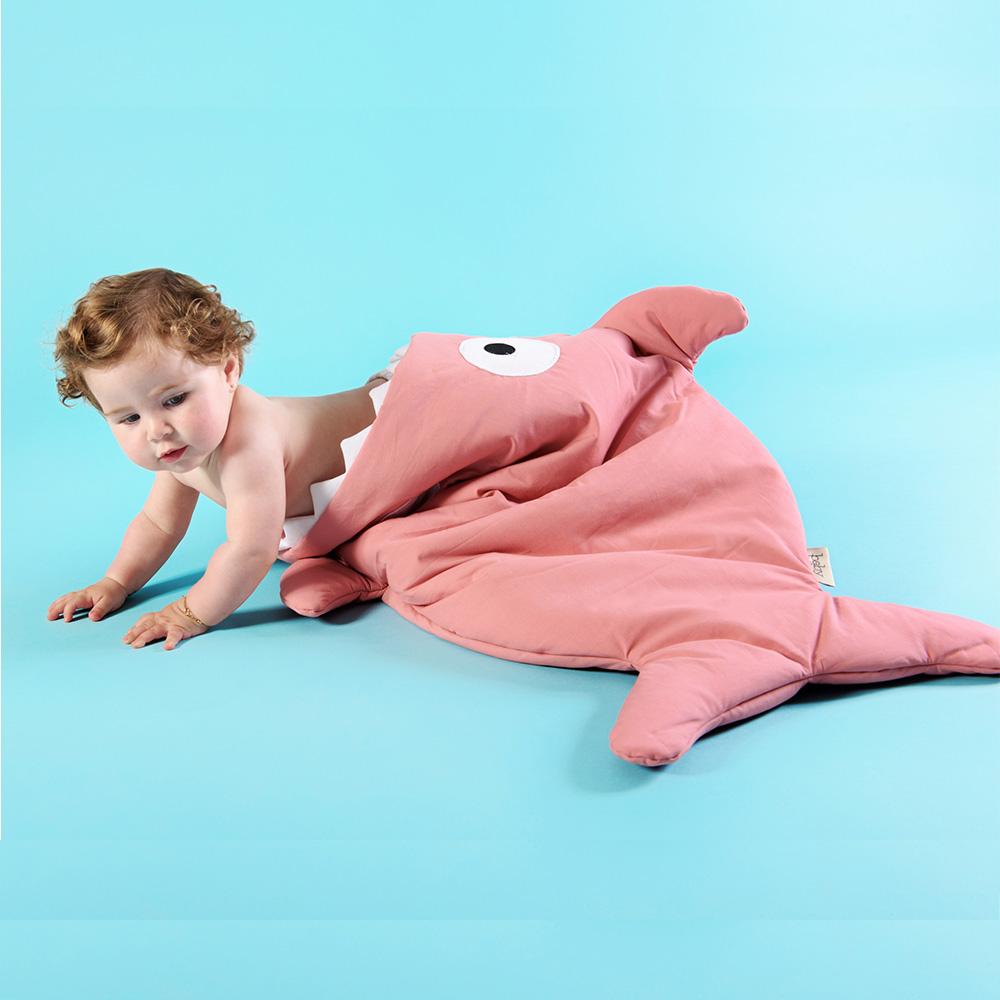 鯊魚咬一口 BabyBites|100%純棉手作嬰幼兒睡袋/防踢被/包巾-莓果牛奶