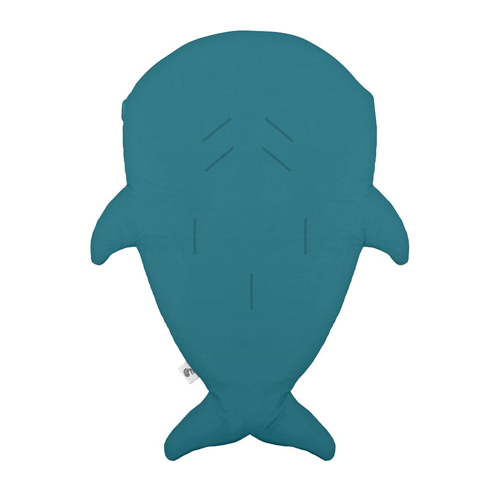 鯊魚咬一口 BabyBites|100%純棉手作嬰幼兒睡袋/防踢被/包巾-土耳其藍