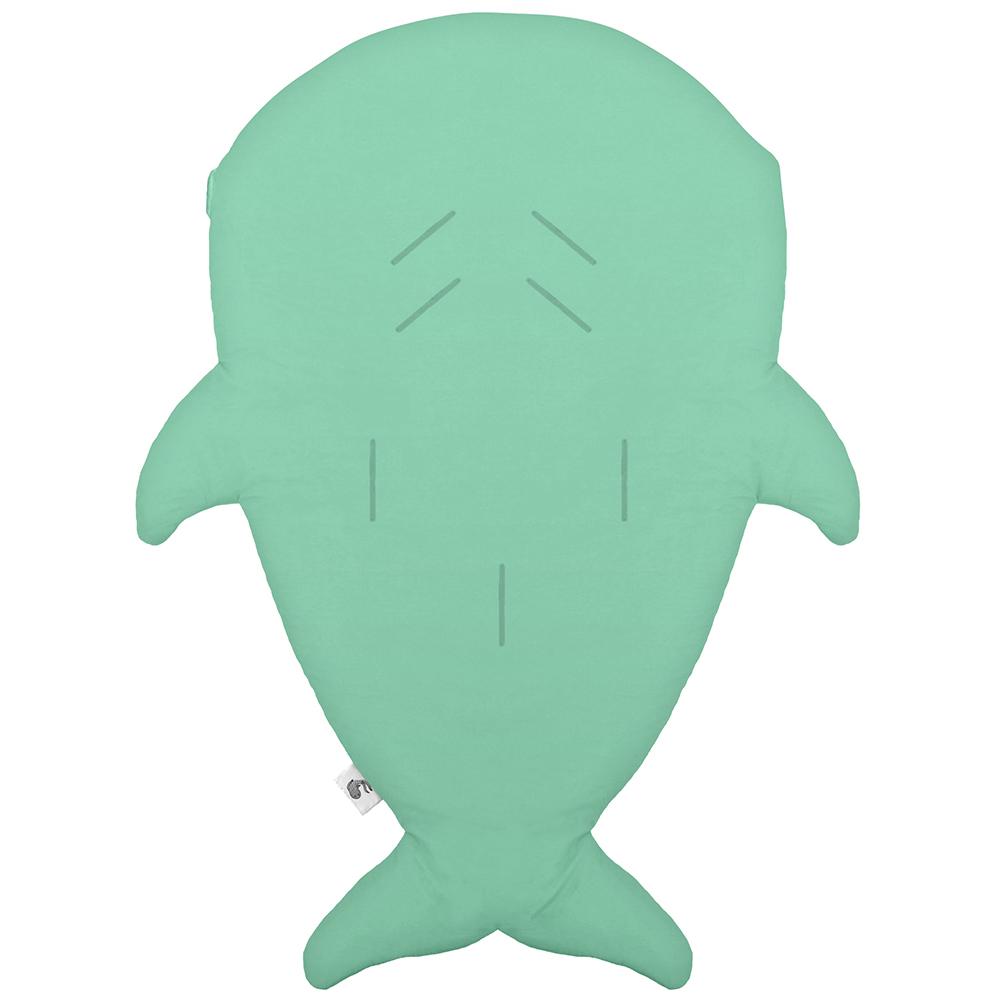 鯊魚咬一口 BabyBites 100%純棉手作嬰幼兒睡袋/防踢被/包巾-青草綠