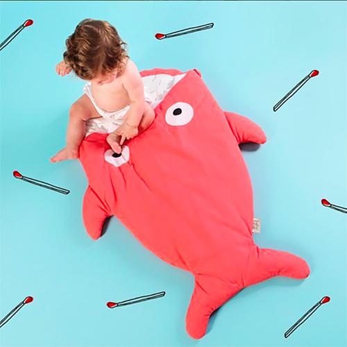 鯊魚咬一口 BabyBites|100%純棉手作嬰幼兒睡袋/防踢被/包巾-紅珊瑚