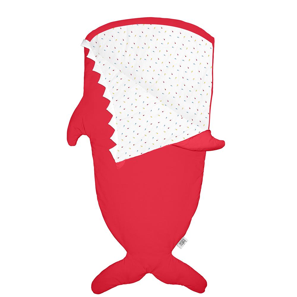 鯊魚咬一口 BabyBites 100%純棉手作兒童版睡袋/防踢被-喜氣紅