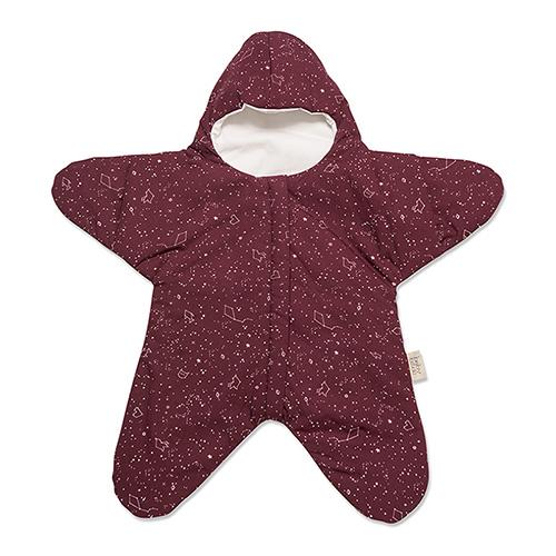 鯊魚咬一口 BabyBites|(輕量版)100%純棉手作嬰幼兒睡袋/防踢被/包巾-星空海星/葡萄紅