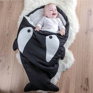 鯊魚咬一口 BabyBites|(輕量版)100%純棉手作嬰幼兒睡袋/防踢被/包巾-小殺人鯨