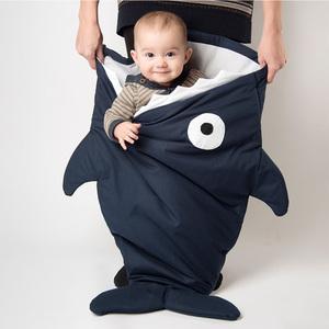 鯊魚咬一口 BabyBites|(輕量版)100%純棉手作嬰幼兒睡袋/防踢被/包巾-丈青藍