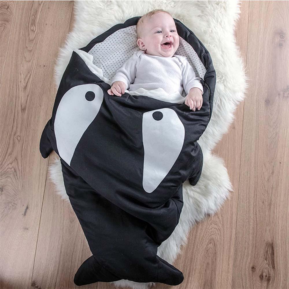 鯊魚咬一口 BabyBites|100%純棉手作嬰幼兒睡袋/防踢被/包巾-小殺人鯨