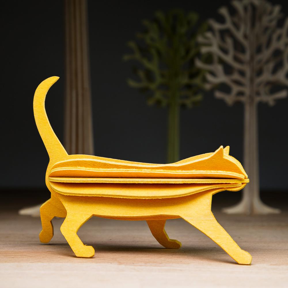 LOVI|3D立體拼圖樺木明信片/擺飾-萌萌貓 (12cm)