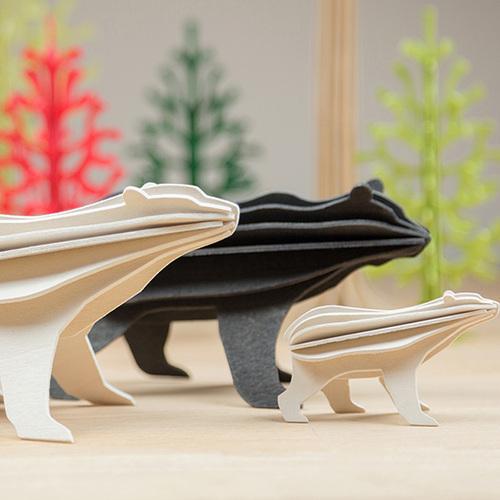 LOVI|3D立體拼圖樺木明信片/擺飾- 北極熊 (15cm)