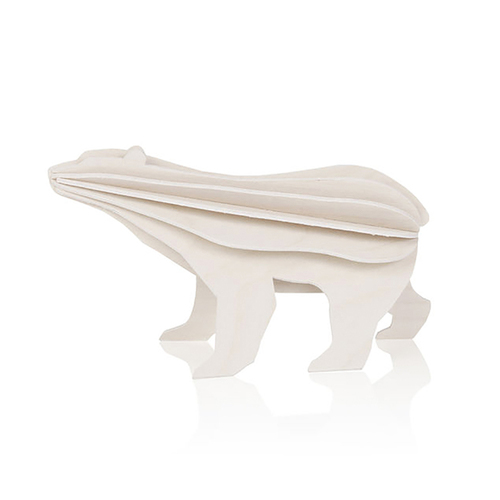 LOVI|3D立體拼圖樺木明信片/擺飾- 小北極熊 (7cm)