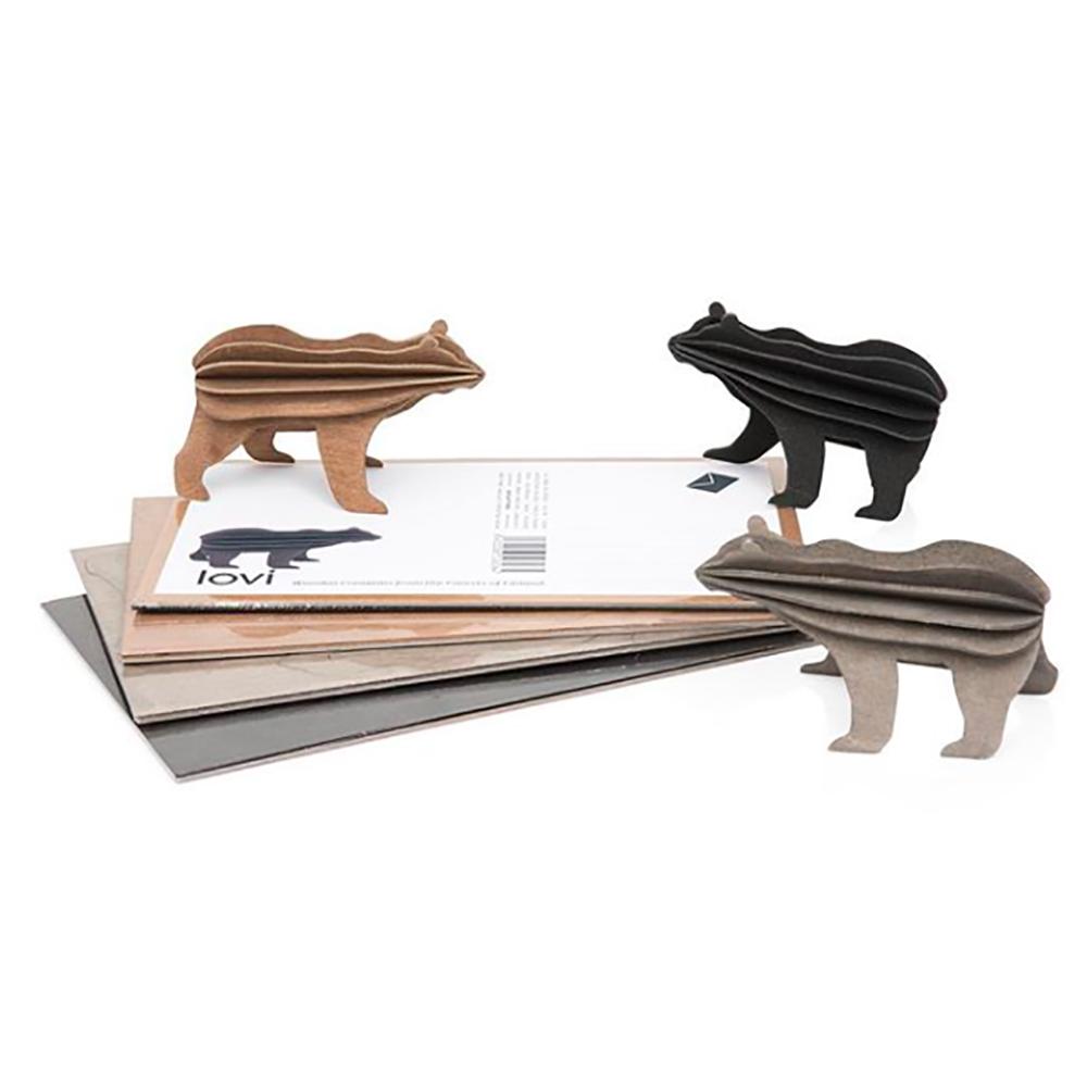 LOVI|3D立體拼圖樺木明信片/擺飾-  棕/黑熊 (13.5 cm)