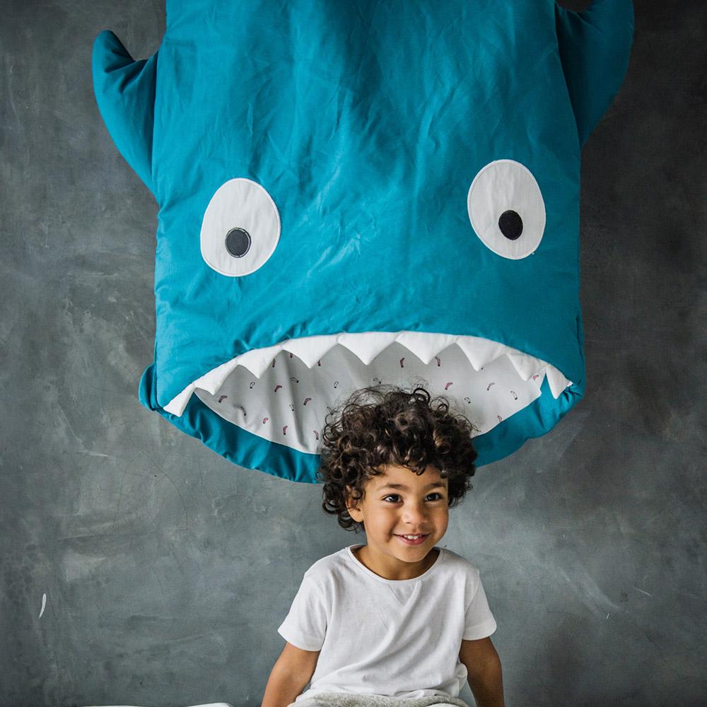 鯊魚咬一口 BabyBites|100%純棉手作兒童版睡袋/防踢被-土耳其藍