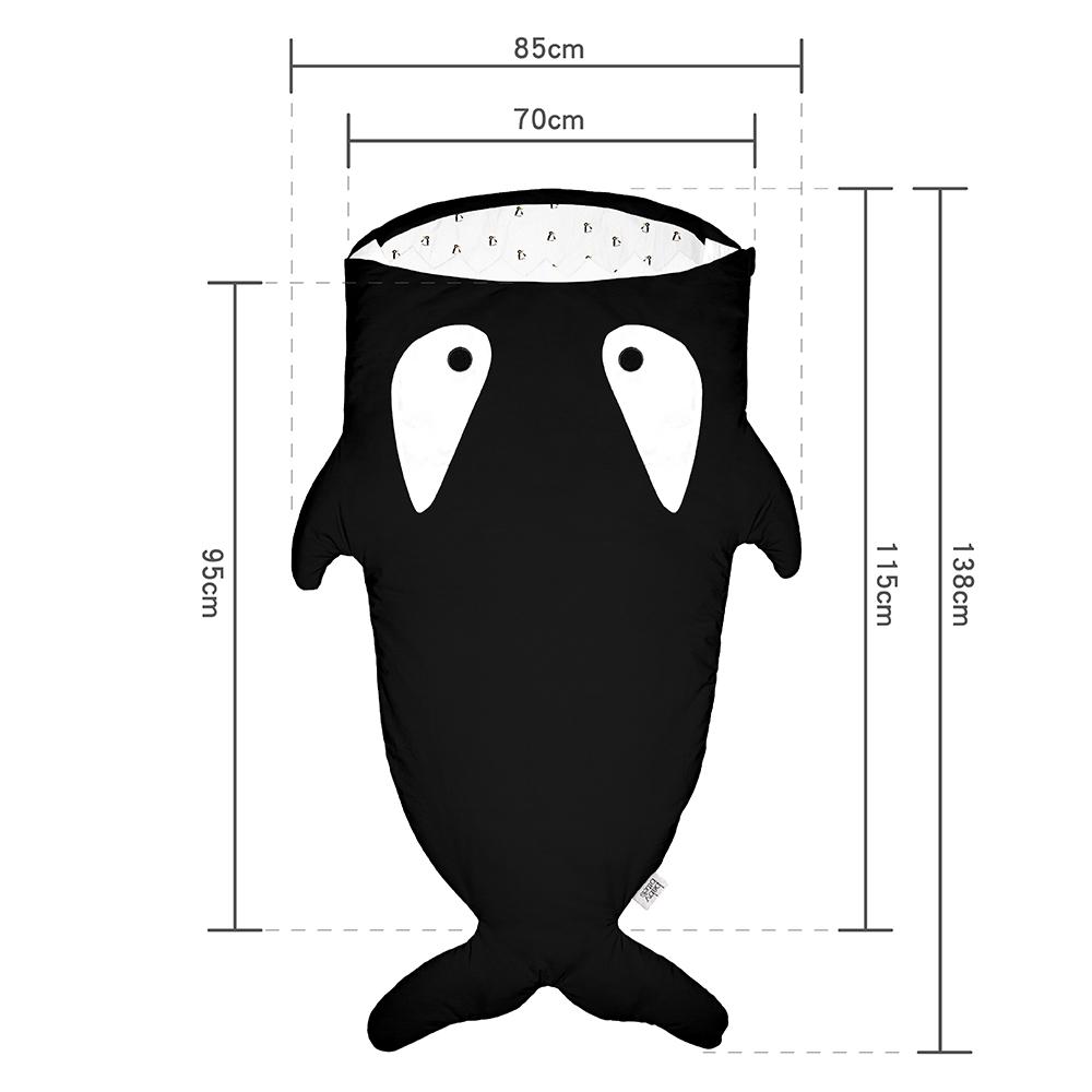 鯊魚咬一口 BabyBites|100%純棉手作兒童版睡袋/防踢被-卡其灰(藍底)