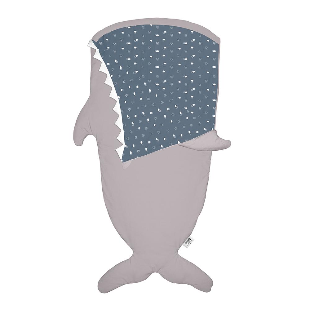 鯊魚咬一口 BabyBites|(輕量版)100%純棉手作兒童版睡袋/防踢被-卡其灰(藍底)