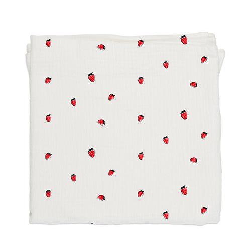 鯊魚咬一口 BabyBites|100% 純棉舒適透氣超萌圖騰包巾-甜甜草莓