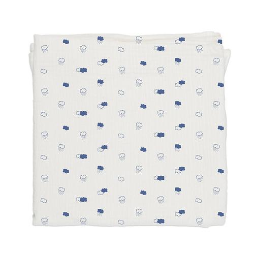 鯊魚咬一口 BabyBites|100% 純棉舒適透氣超萌圖騰包巾-藍底朵朵雲