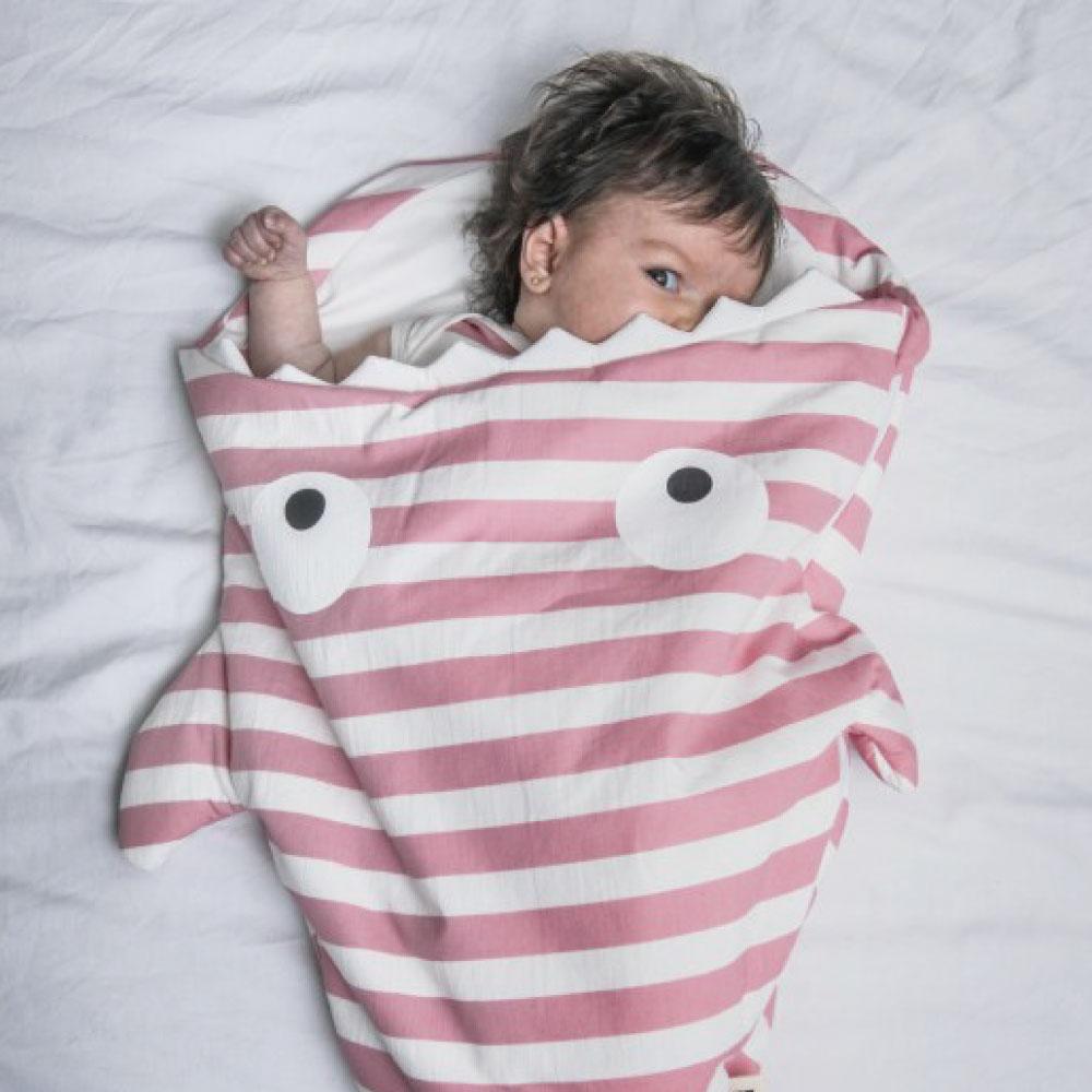 鯊魚咬一口 BabyBites|(輕量版)100%純棉手作兒童版睡袋/防踢被-水手粉條紋