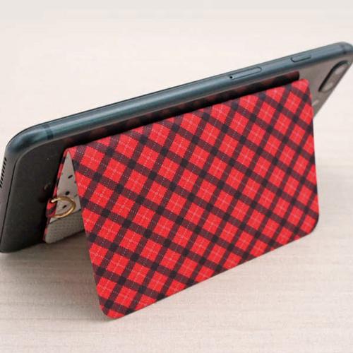 ekax│手機背貼卡片夾手頸繩組(豹紅甜心)