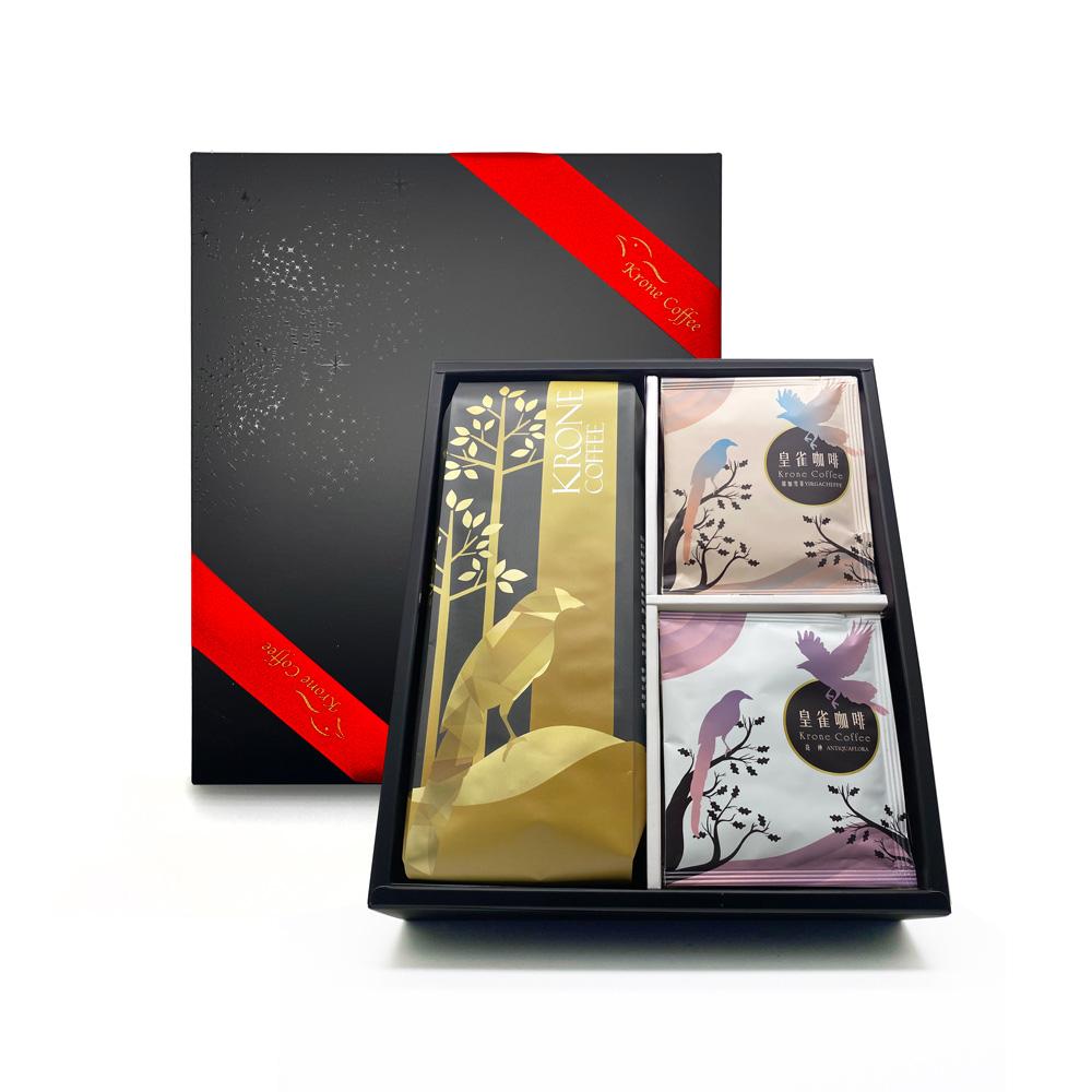 Krone皇雀 精選一磅咖啡豆+阿拉比卡濾掛咖啡12入時尚禮盒組