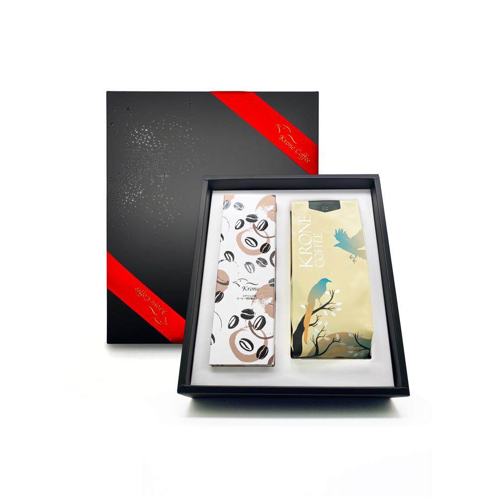 Krone皇雀 精選黃金曼特寧半磅咖啡豆+咖啡封口夾量匙時尚禮盒組