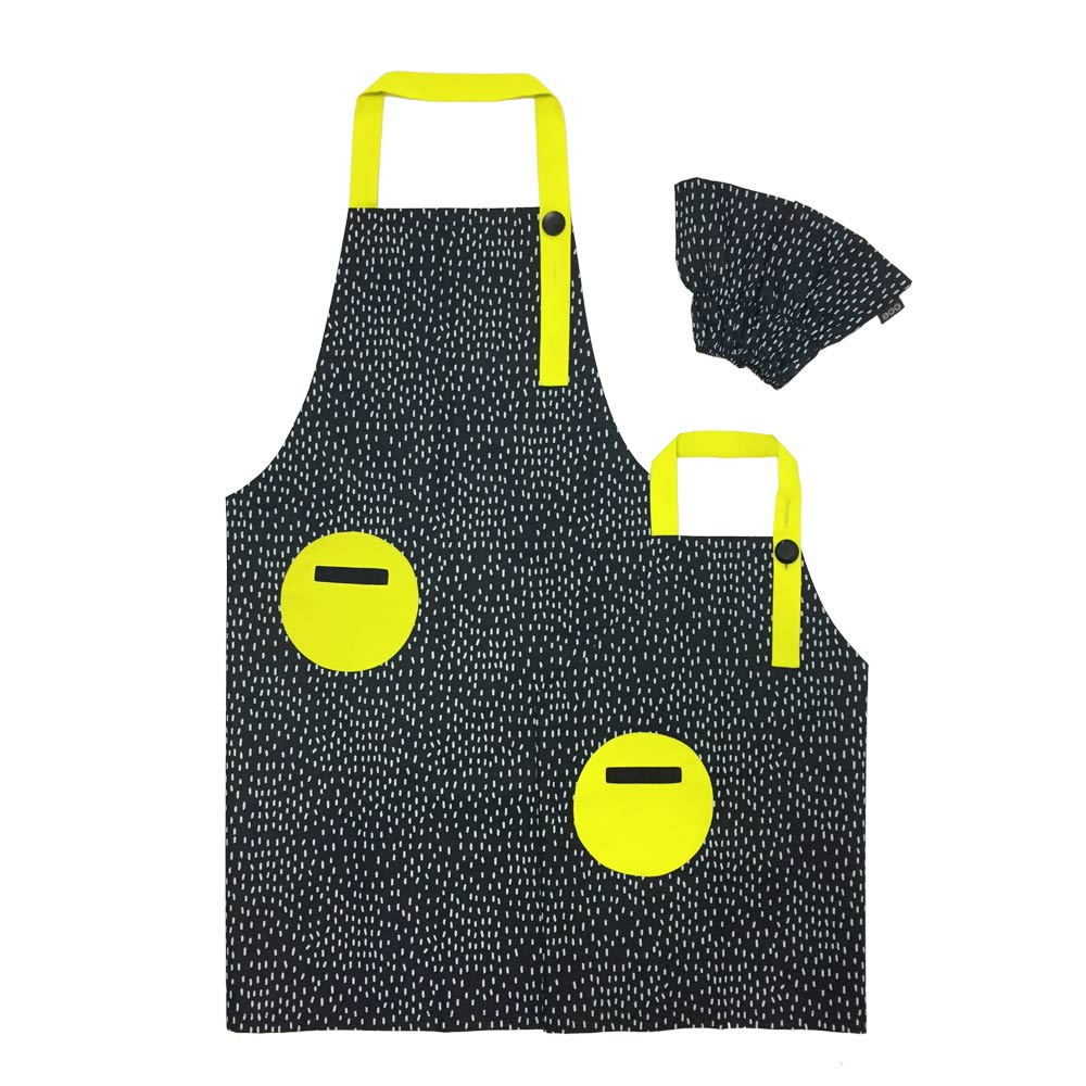 OGG|幾何趣拼色親子工作圍裙(嗒嗒雨點)