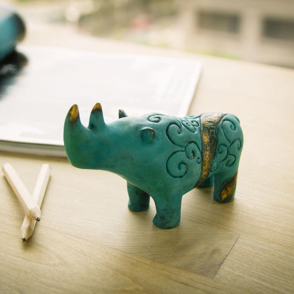 筌美術Gallery Chuan|青銅時期系列_《出類拔萃》犀牛造型銅雕