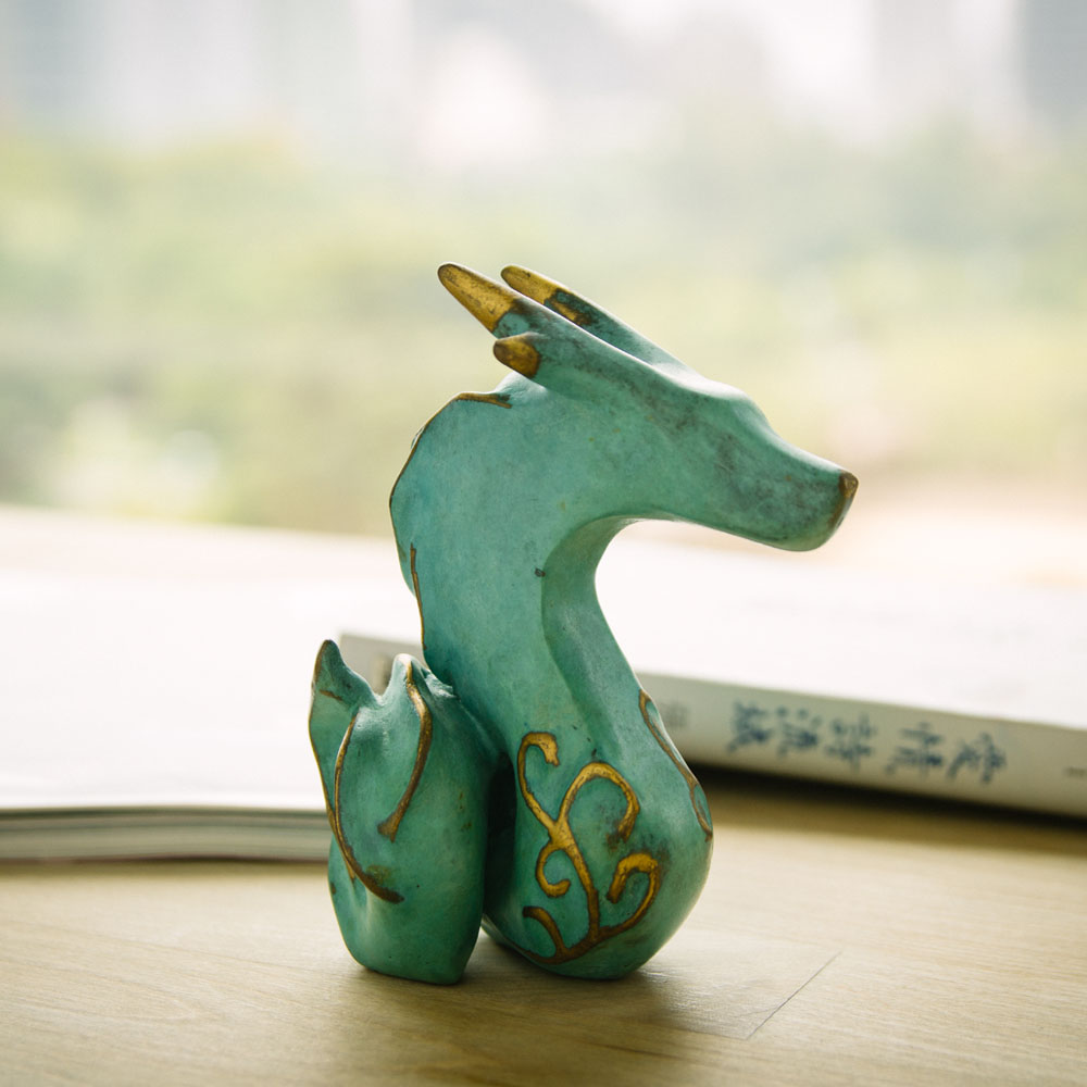 筌美術Gallery Chuan | 青銅時期系列_《綻放鋒芒》龍造型銅雕