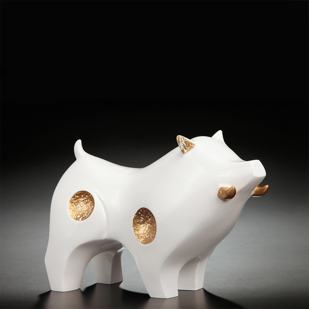 筌美術Gallery Chuan | 尊榮系列_《納.財源 》豬造型擺飾(白)