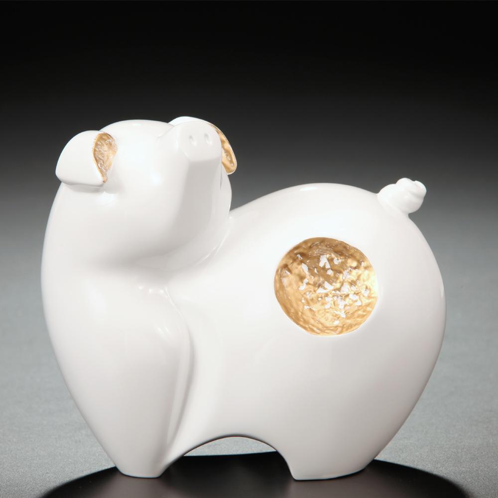 筌美術Gallery Chuan | 尊榮系列_《滿.福祿 》豬造型擺飾(白)