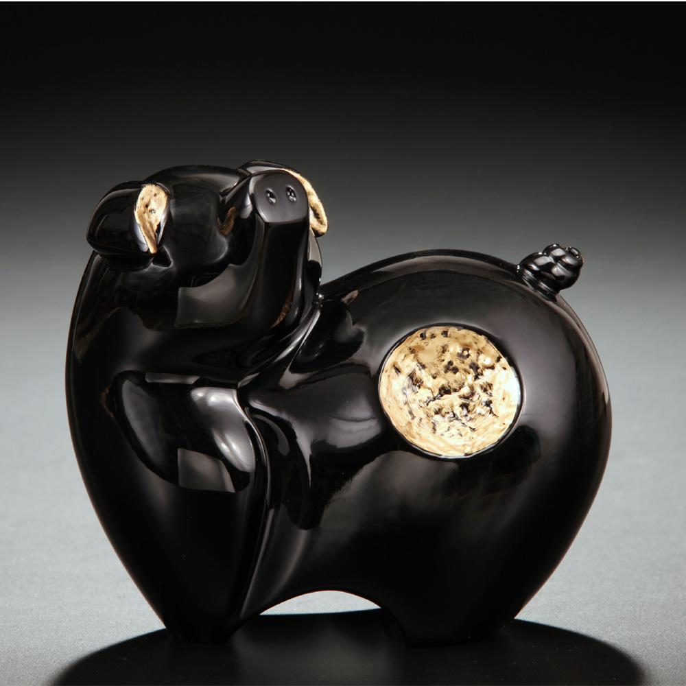 筌美術Gallery Chuan | 尊榮系列_《滿.福祿 》豬造型擺飾(黑)