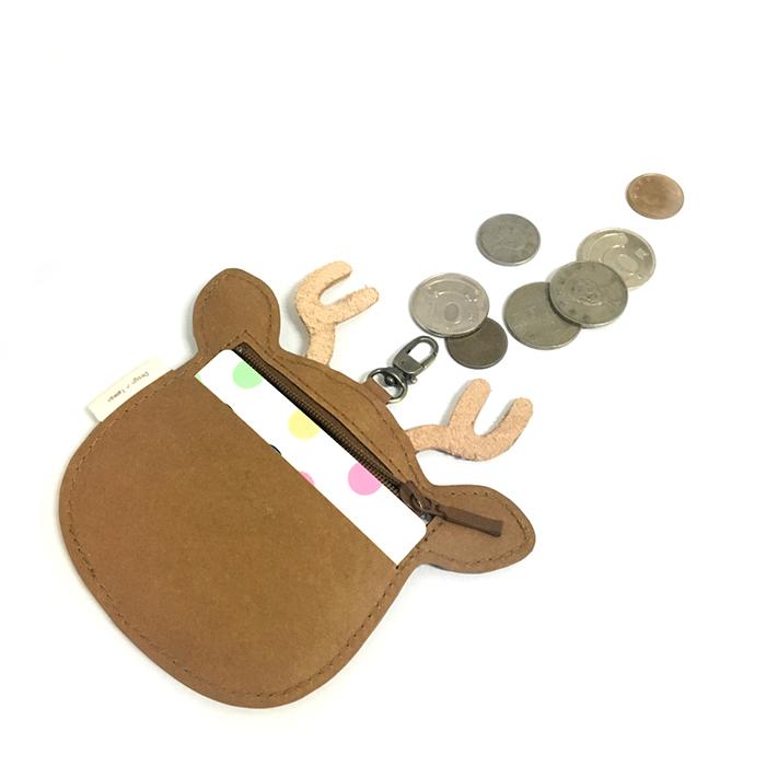 C′est Si Bon 洗舊皮革紙鑰匙圈零錢包-動物狂想曲(暖心麋鹿)