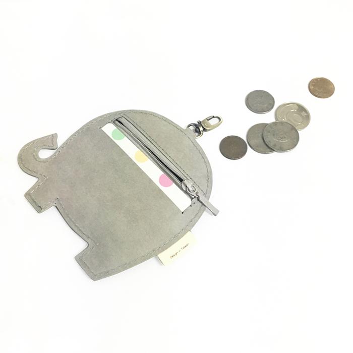 C′est Si Bon|洗舊皮革紙鑰匙圈零錢包-動物狂想曲(粉嫩灰小象)