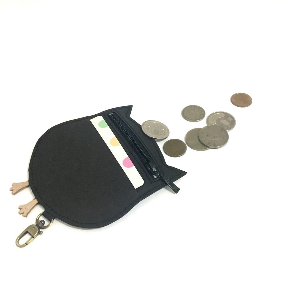 C′est Si Bon|洗舊皮革紙鑰匙圈零錢包-動物狂想曲(質感黑貓頭鷹)