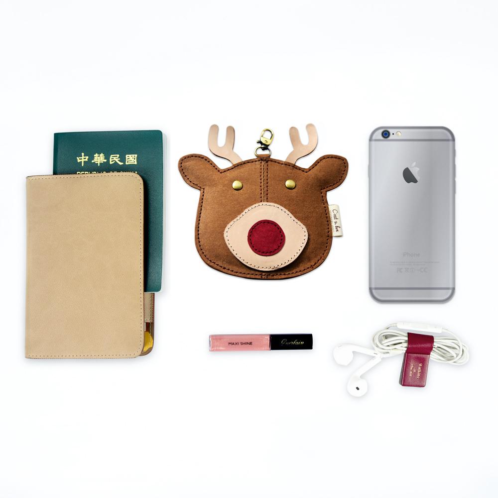 C′est Si Bon|洗舊皮革紙鑰匙圈零錢包-動物狂想曲(暖心麋鹿)