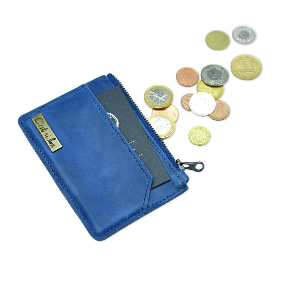 C′est Si Bon 復古洗色款進口真皮零錢包/卡包-懷舊藍 II