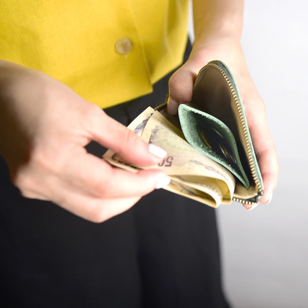 C′est Si Bon|進口真皮L型拉鍊零錢包/鈔票短夾-抹綠色
