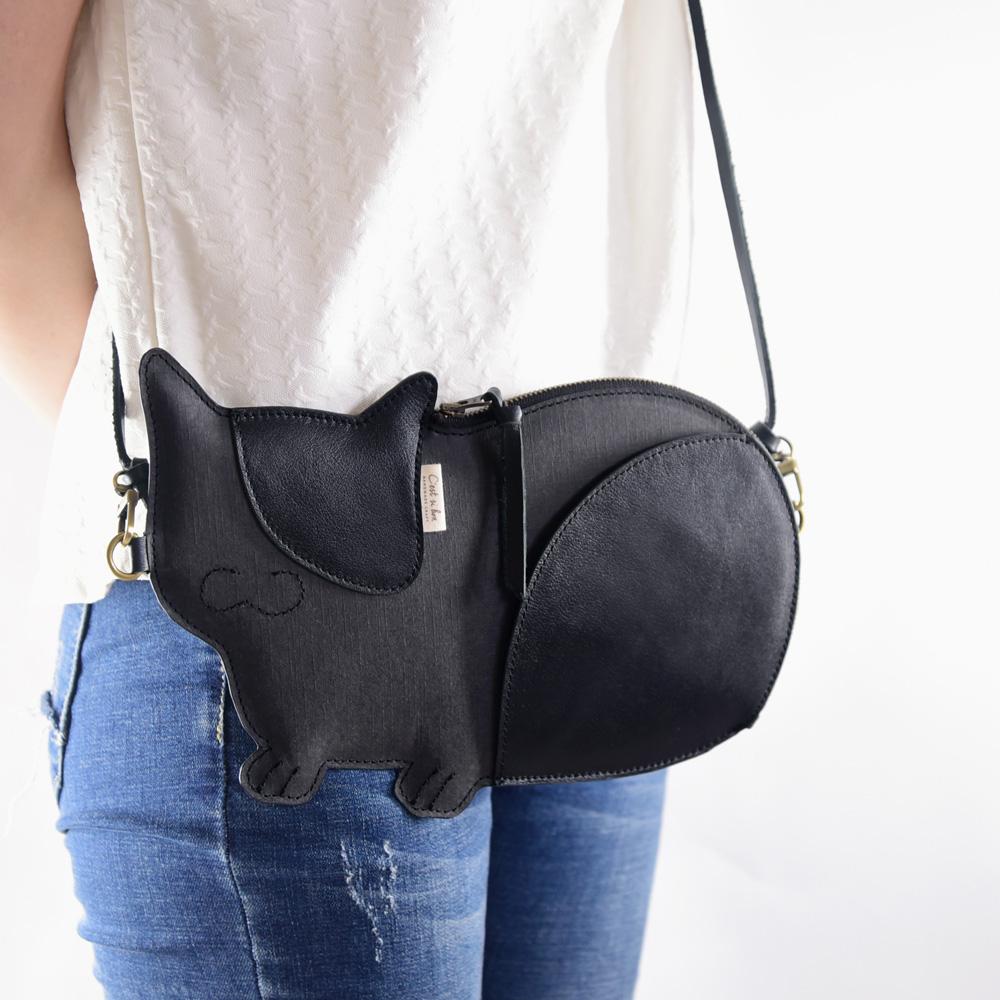 C'est Si Bon 進口紋理皮革紙 造型手拿/肩背兩用包-貓咪
