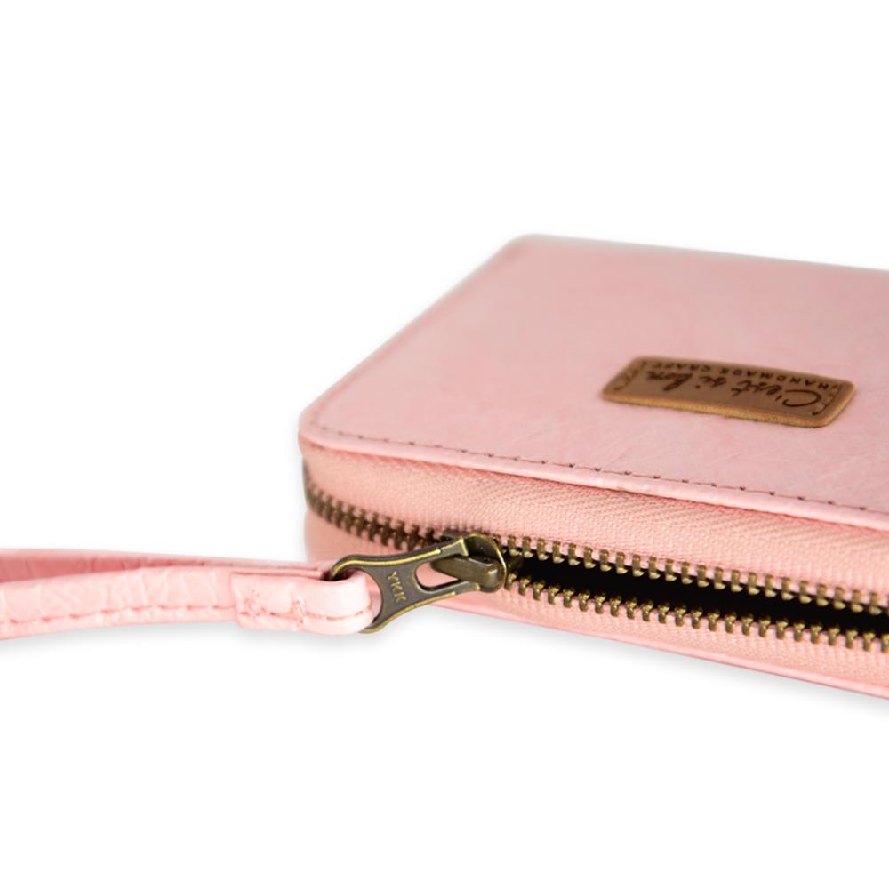 C'est Si Bon|輕薄纖維紙感 拉鍊卡片錢包-粉紅色