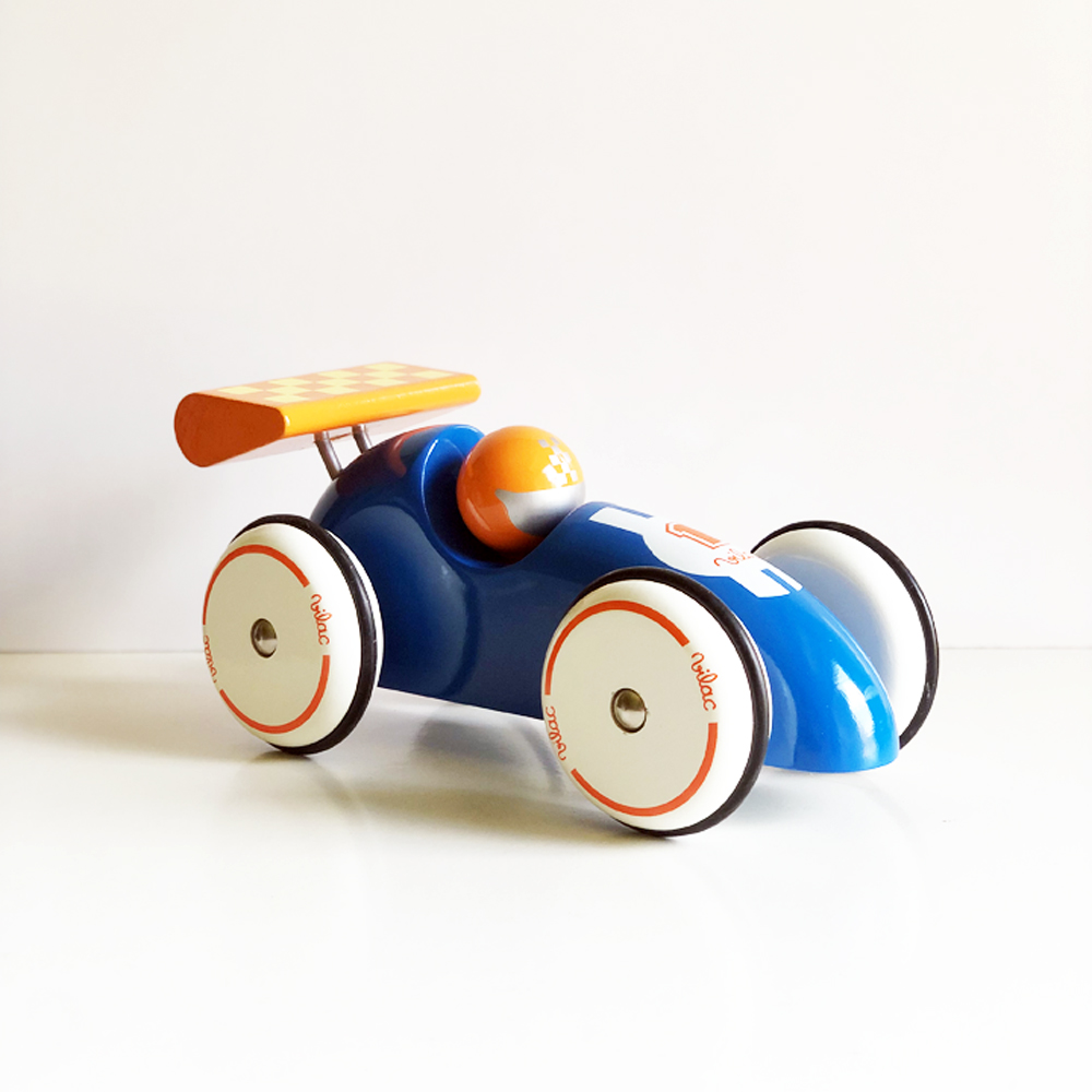 Vilac|法國手工製作XL實木賽車(藍橙色)