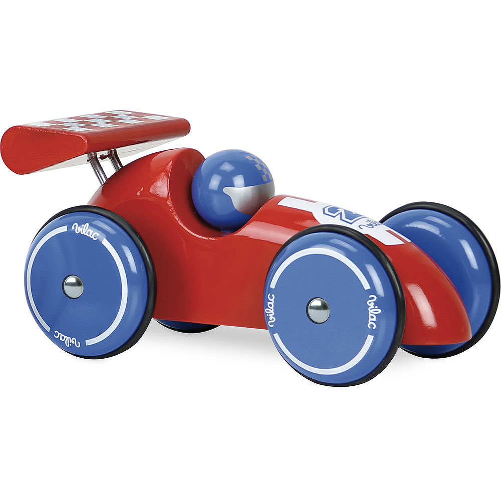 Vilac|法國手工製作實木XL賽車 (紅藍色)