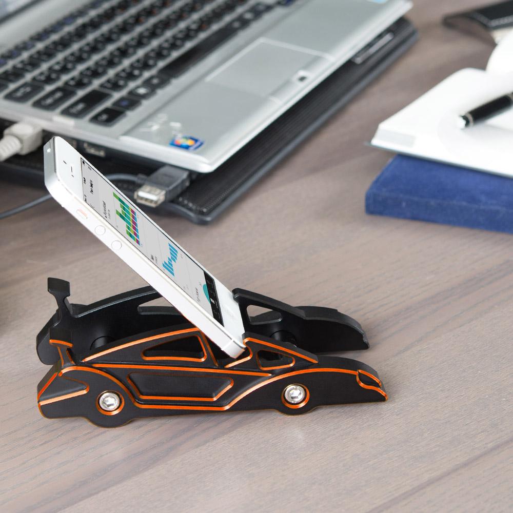 KiWAV 航太鋁合金多功能手機平板架-跑車款(跳躍橘)